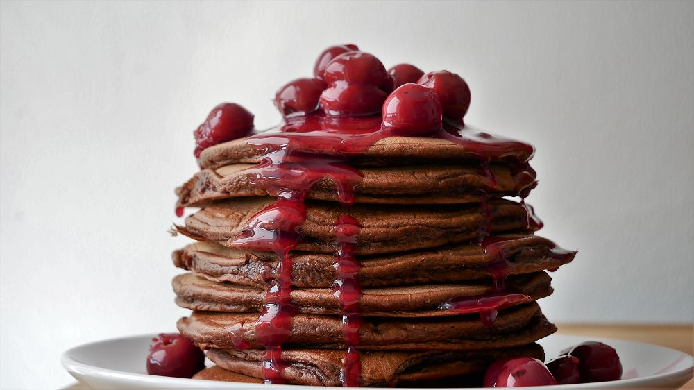 Chocolate Pancakes with Hot Cherries