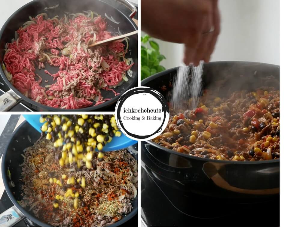 Preparing Minced Beef Filling