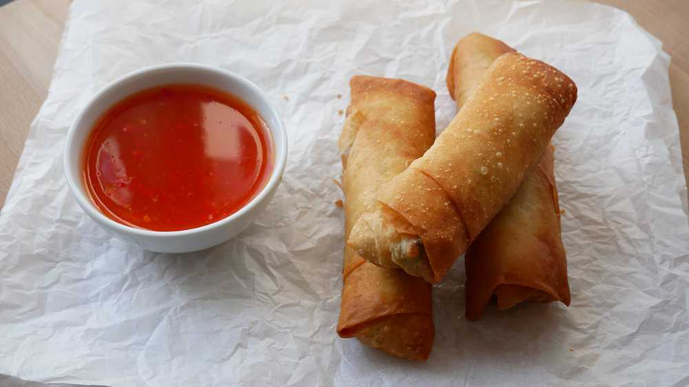 Vegetarian Spring Rolls with Sweet Chili Sauce