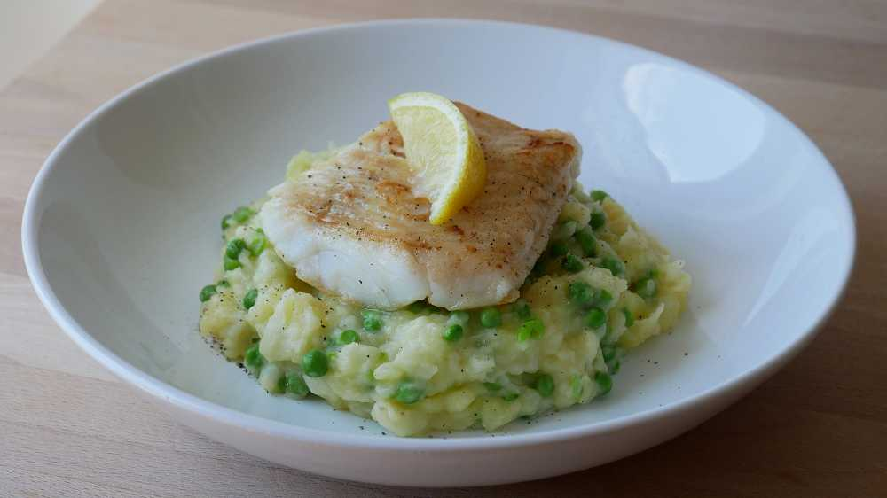 Codfish on Pea Potato Mash
