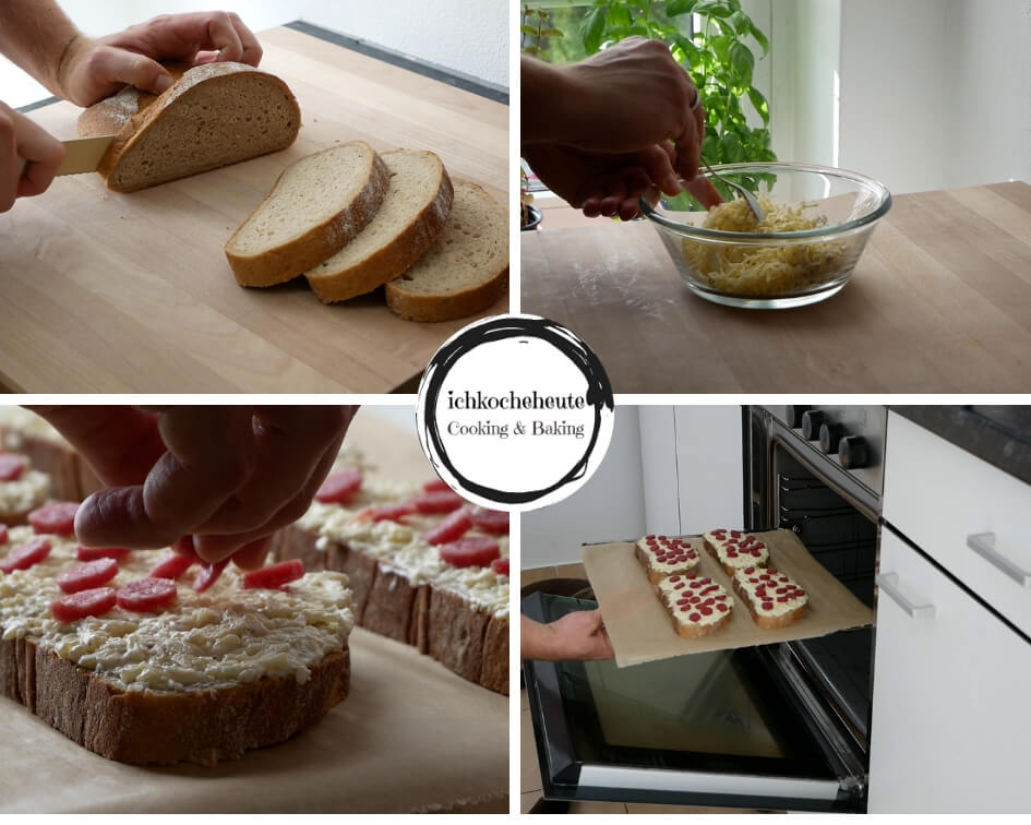 Preparing Pizza Sandwiches