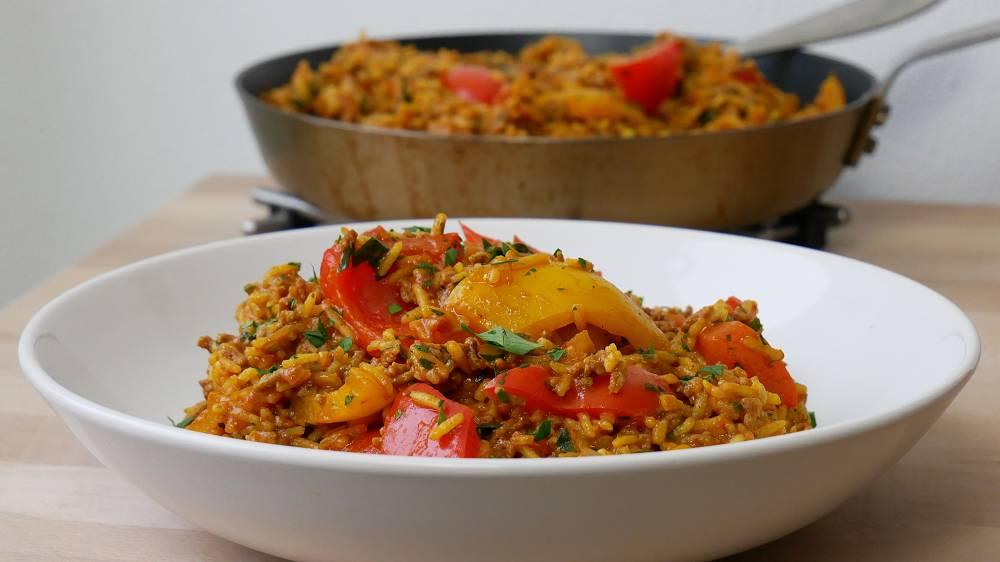 Paprika Reis Pfanne mit Hack