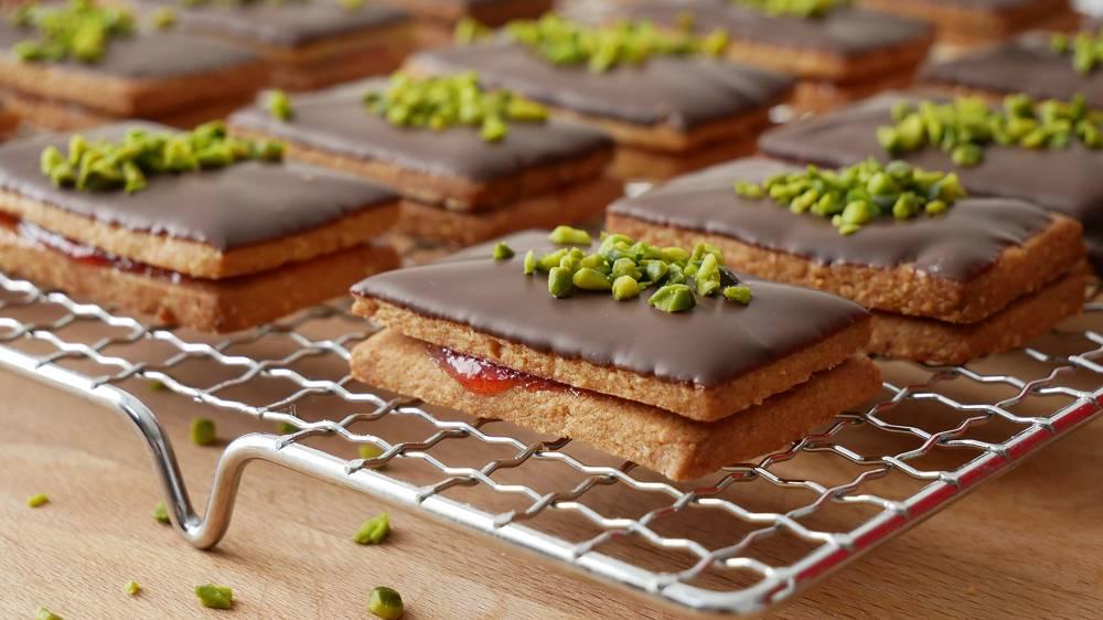 Pistachio Almond Sandwich Cookies