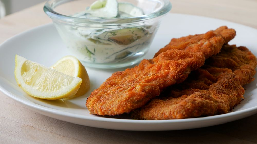 Oven Baked Pork Schnitzel with Cucumber Salad