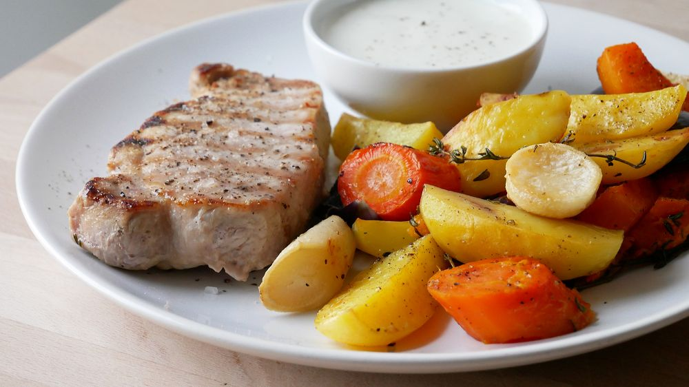 Pork Steaks with Oven Baked Vegetables & Aioli