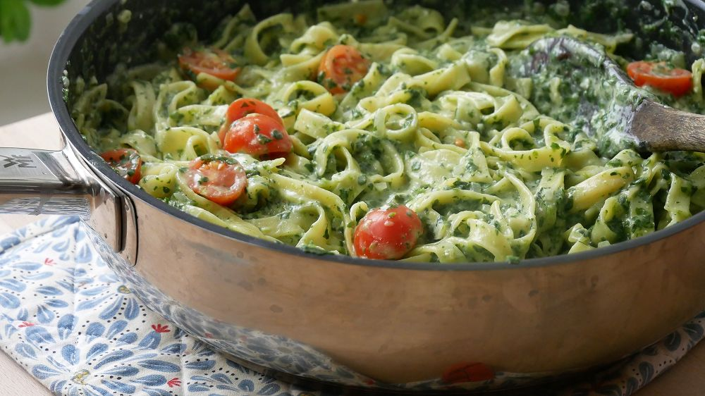 One Pot Pasta mit Ricotta & Spinat