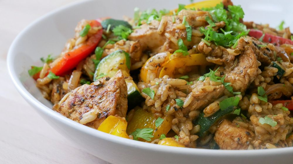 Chicken Gyros Stir-Fry with Rice & Vegetables