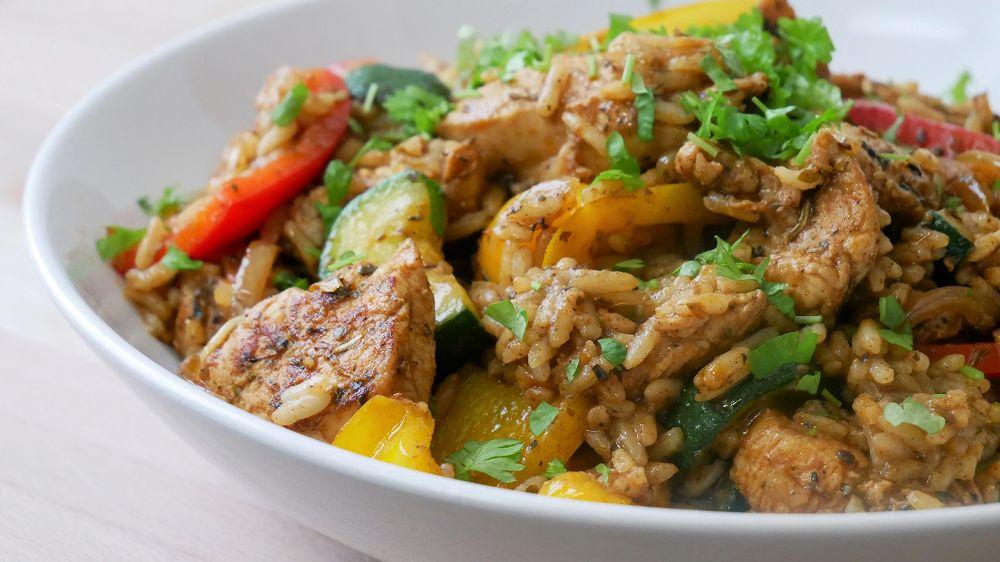 Hähnchen Gyros Pfanne mit Reis & Gemüse