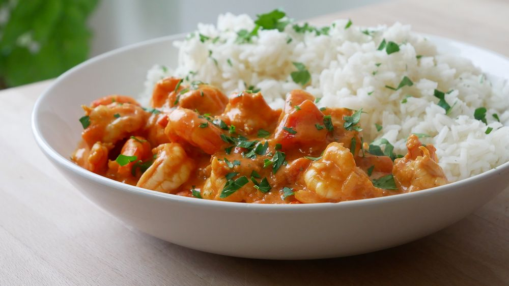 Simple Prawn Curry with Rice