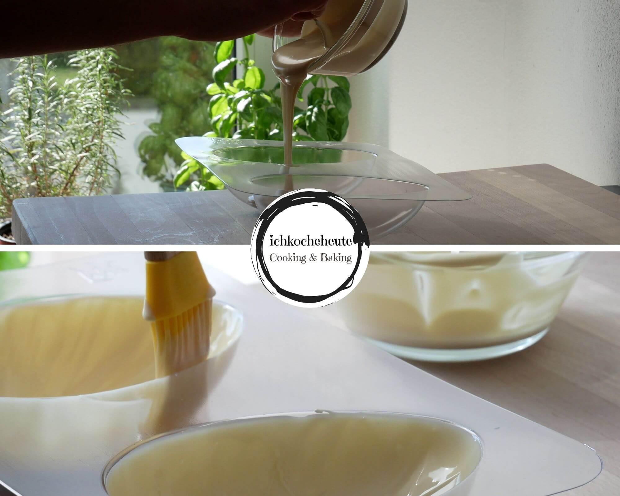 Brushing Baking Mold with White Chocolate