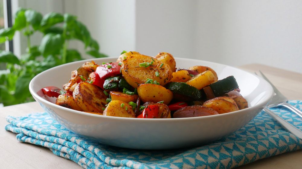 Veggie Stir-Fry with Roasted Potatoes
