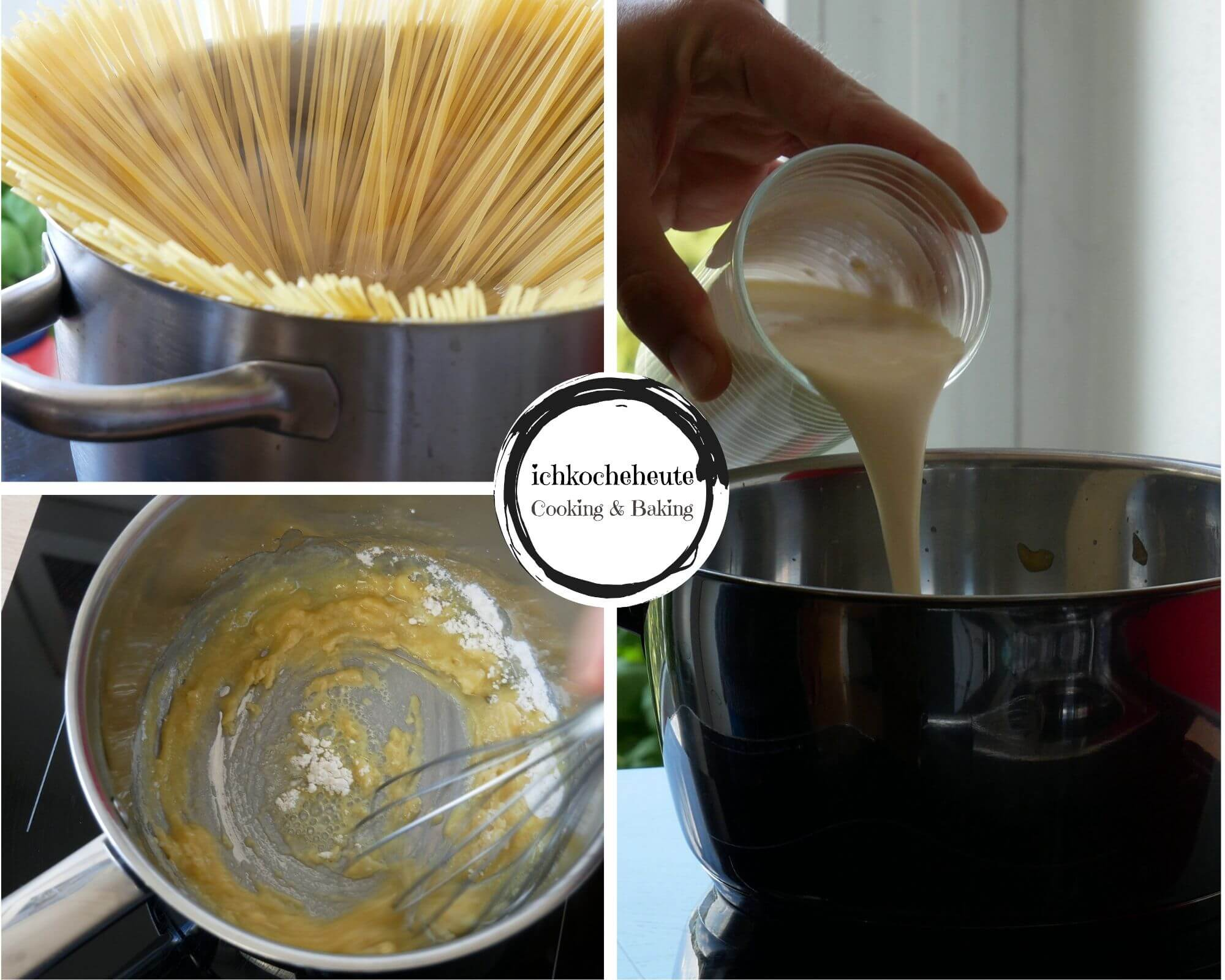 Cooking Spaghetti with Creamy Cheese Sauce