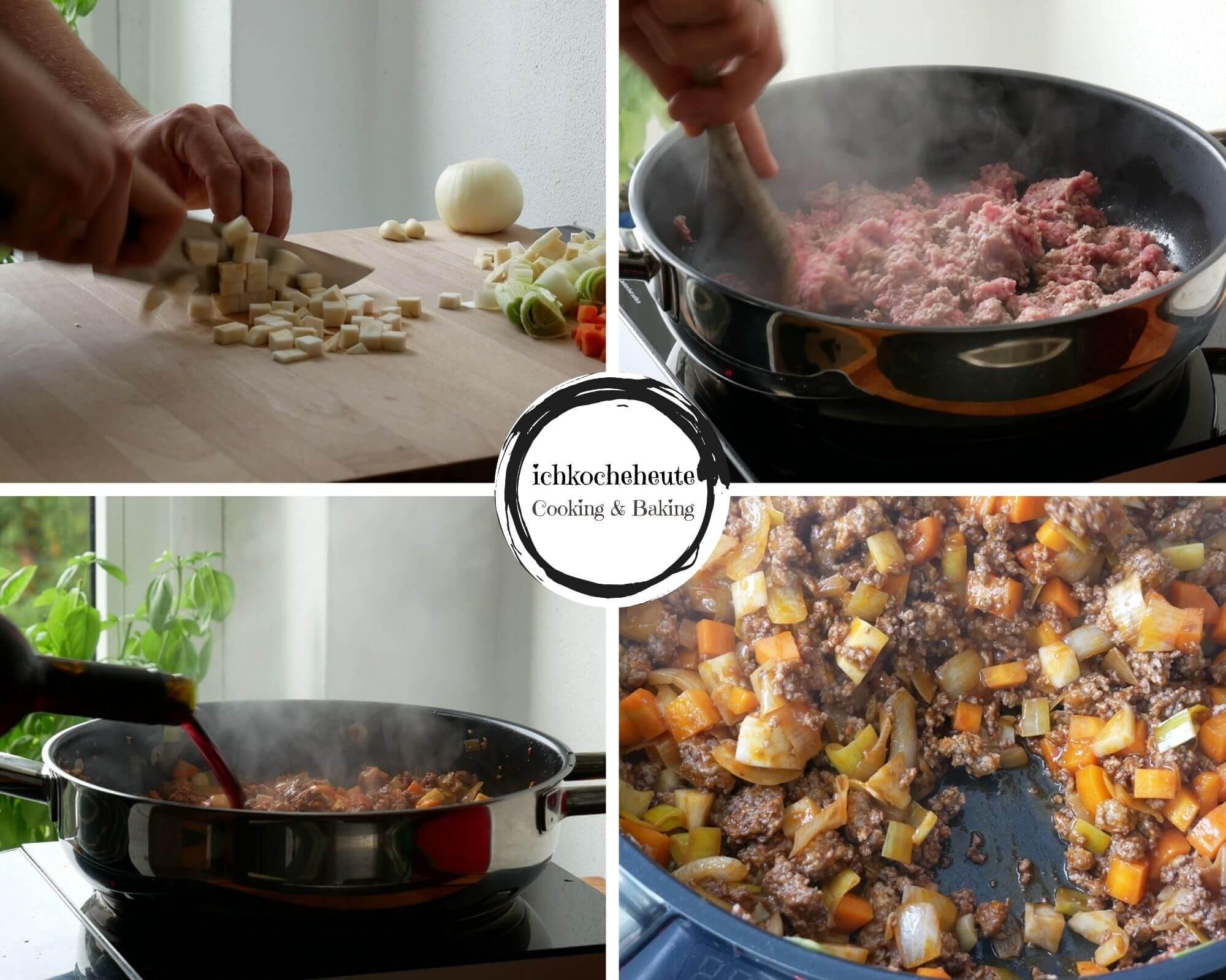 Vorbereitungen für die Lasagnesuppe