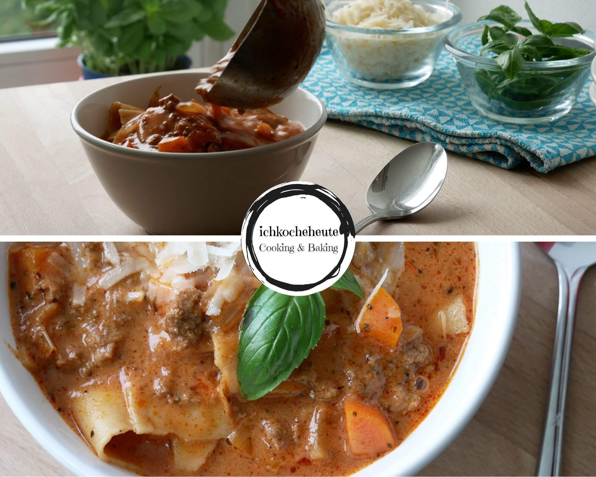 Lasagnesuppe Servieren