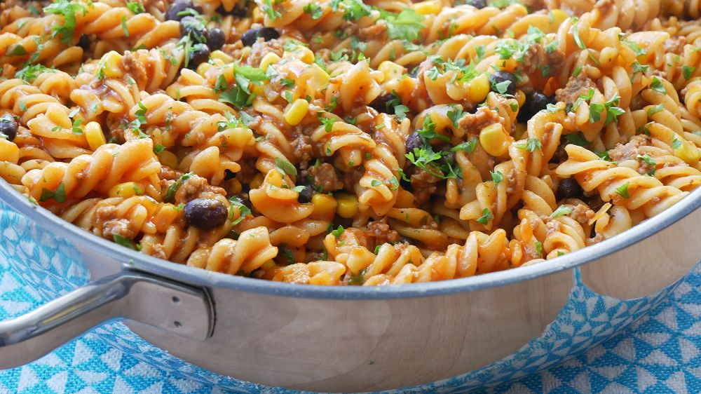 TexMex One Pot Pasta with Beef, Corn & Beans