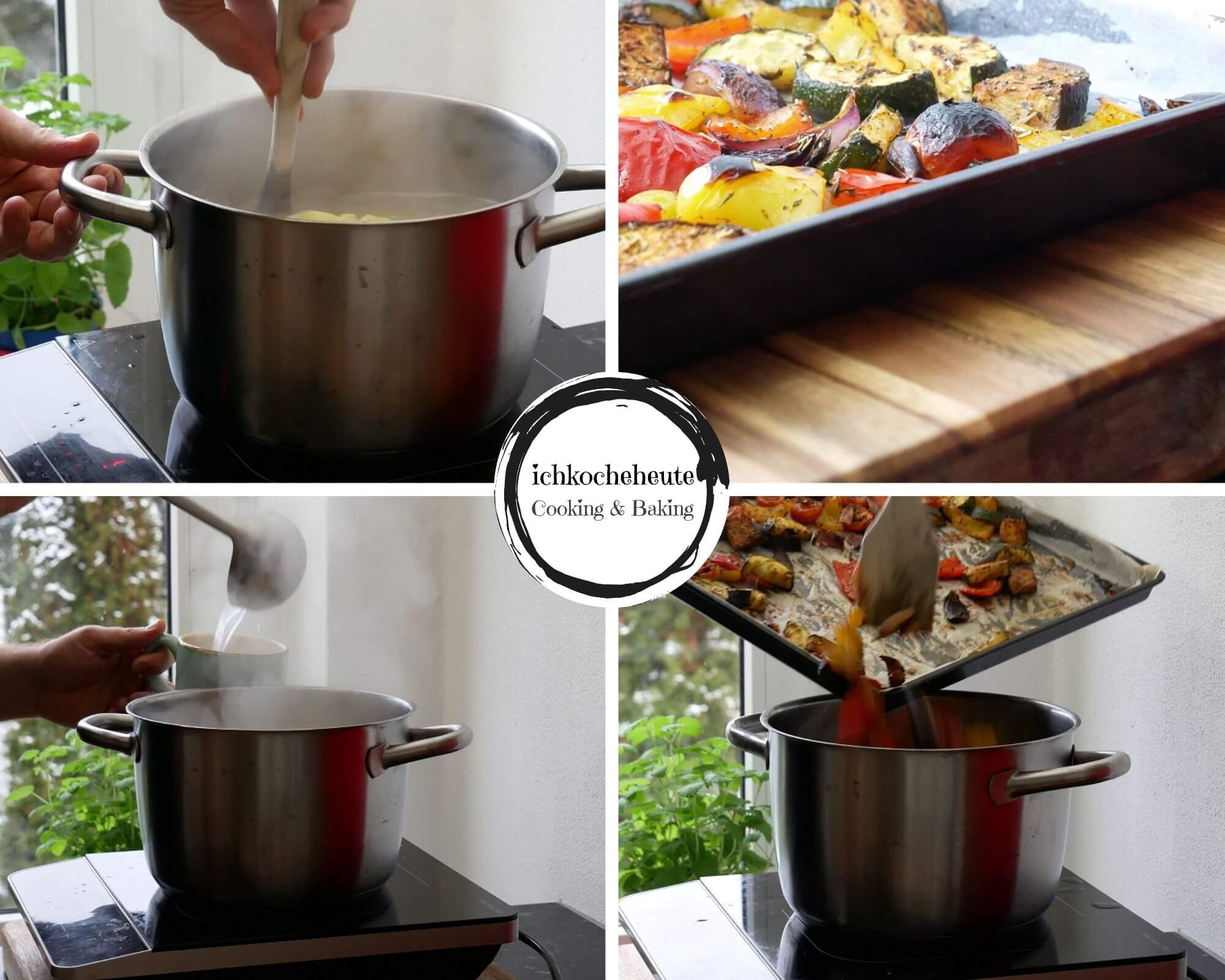 Cooking Pasta with Oven Vegetables