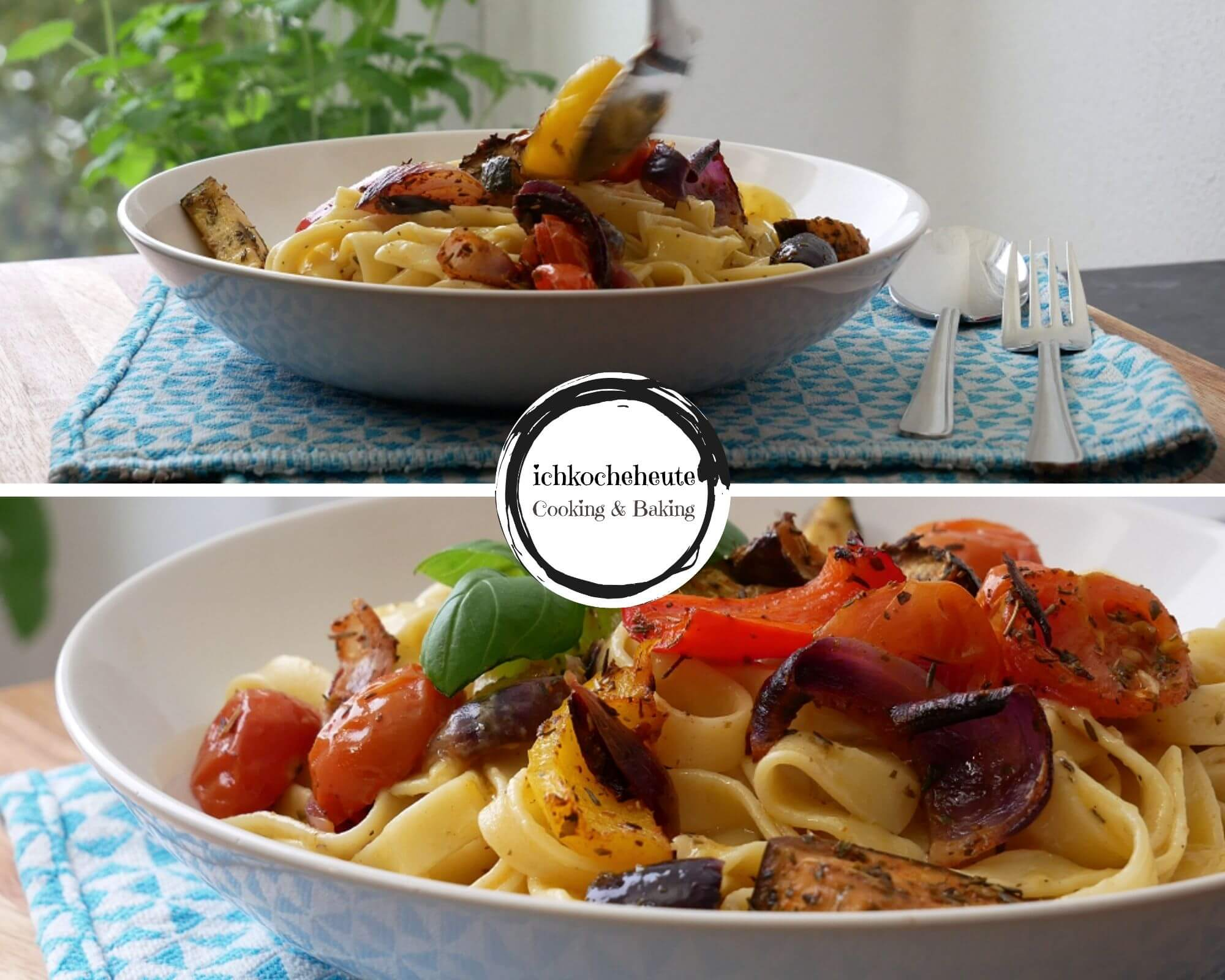 Serving Pasta with Oven Veggies
