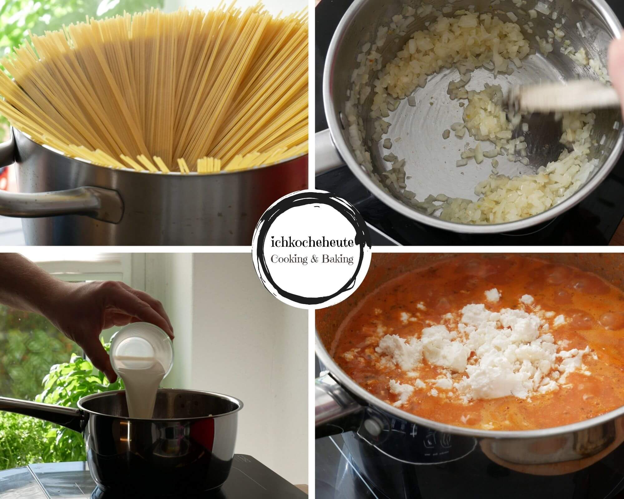 Cooking Spaghetti with Tomato Feta Sauce