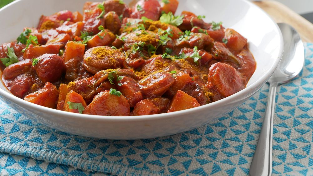 Currywursttopf mit Paprika & Kartoffeln