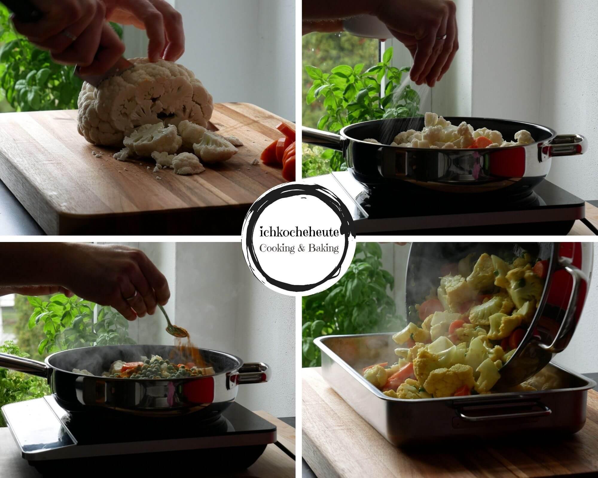 Vorbereitungen für den Gnocchi Gemüse Auflauf