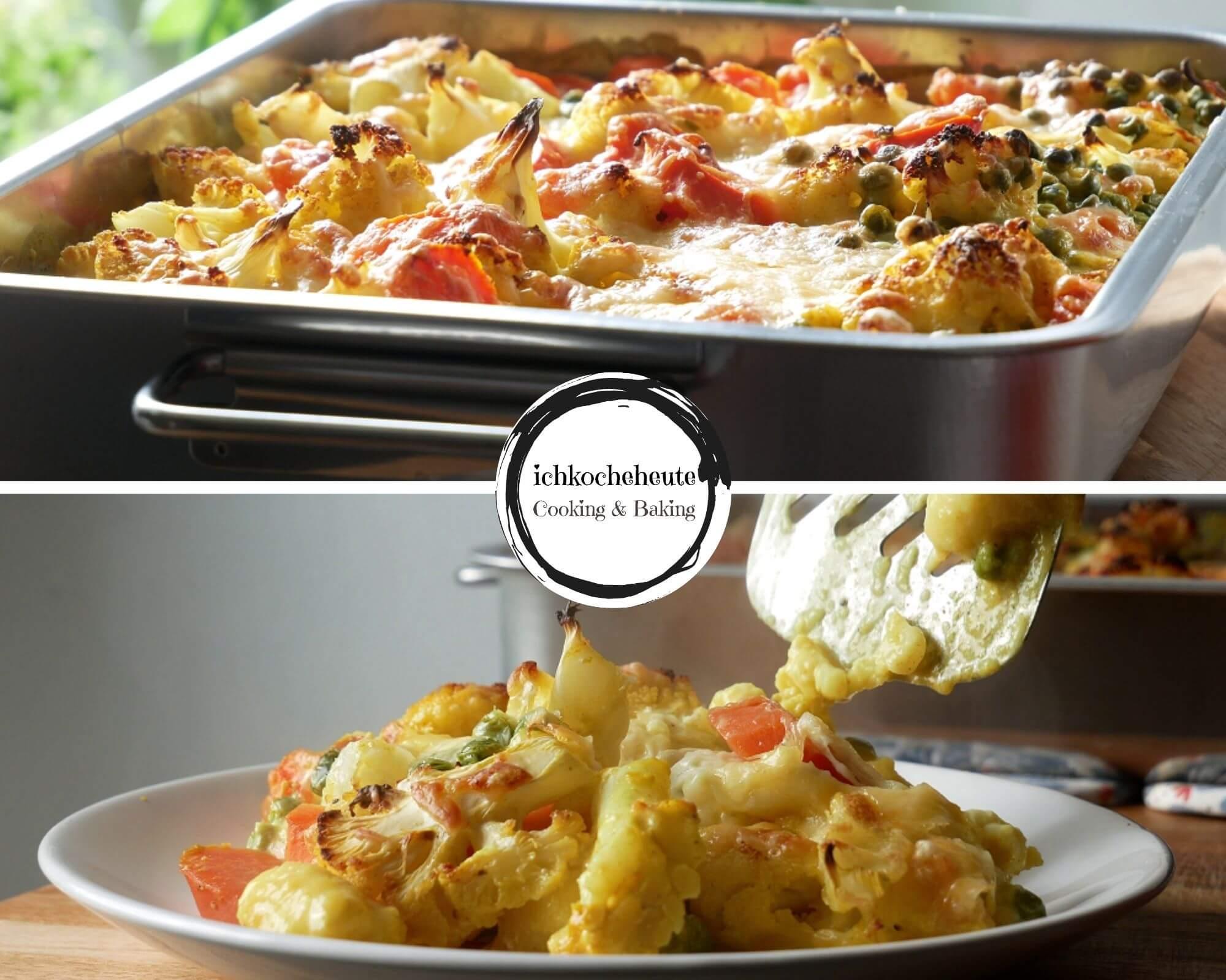 Gnocchi Gemüse Auflauf Servieren