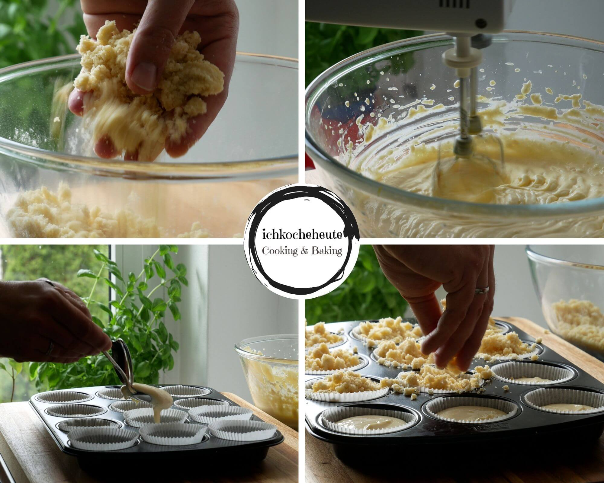 Preparations for Cheesecake Streusel Muffins