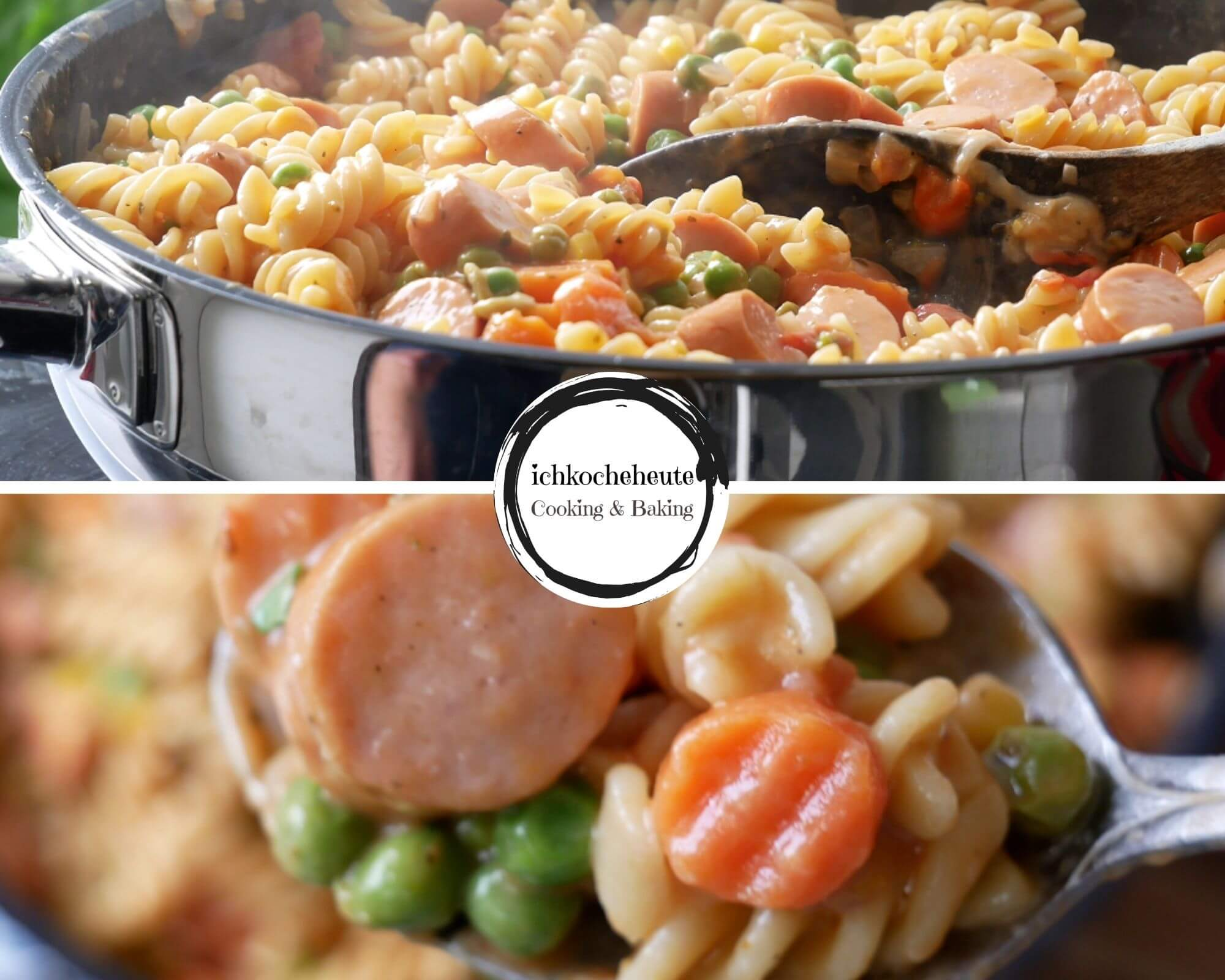Serving One Pot Pasta with Veggies & Sausages