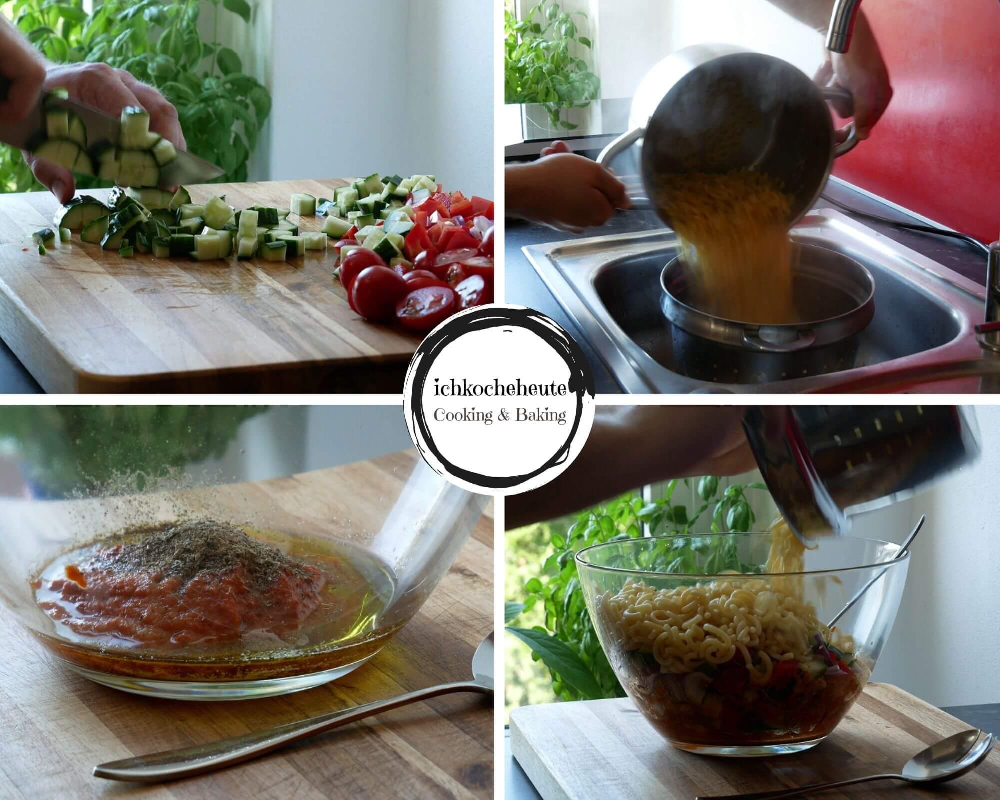 Preparations for Pasta Salad with Feta & Veggies