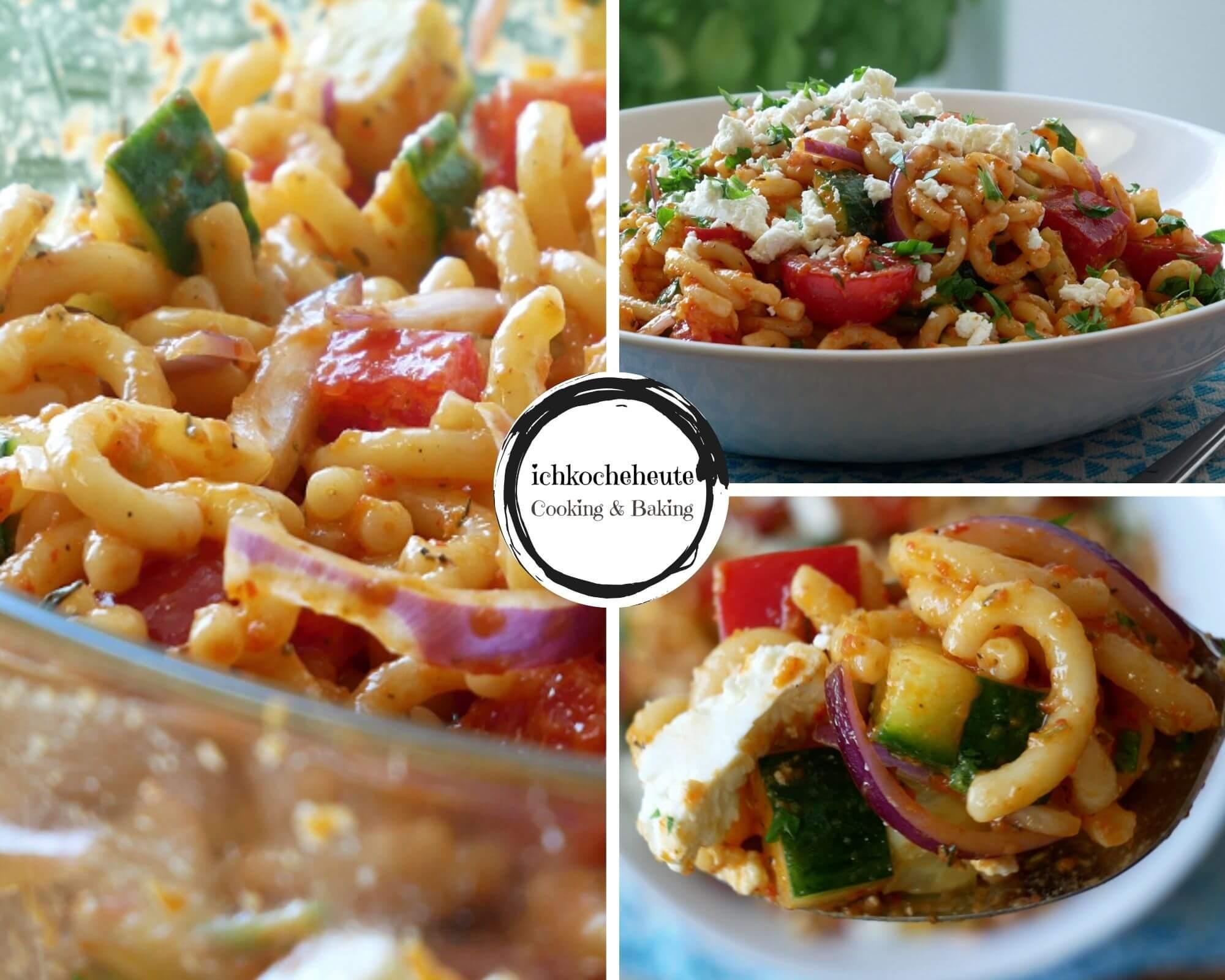 Serving Pasta Salad with Feta & Veggies