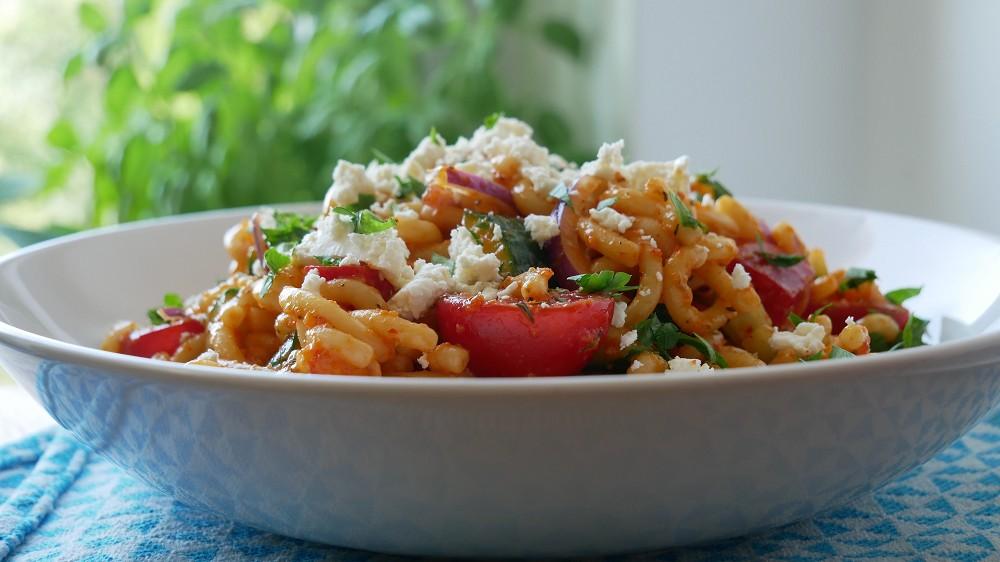 Simple Pasta Salad with Veggies & Feta