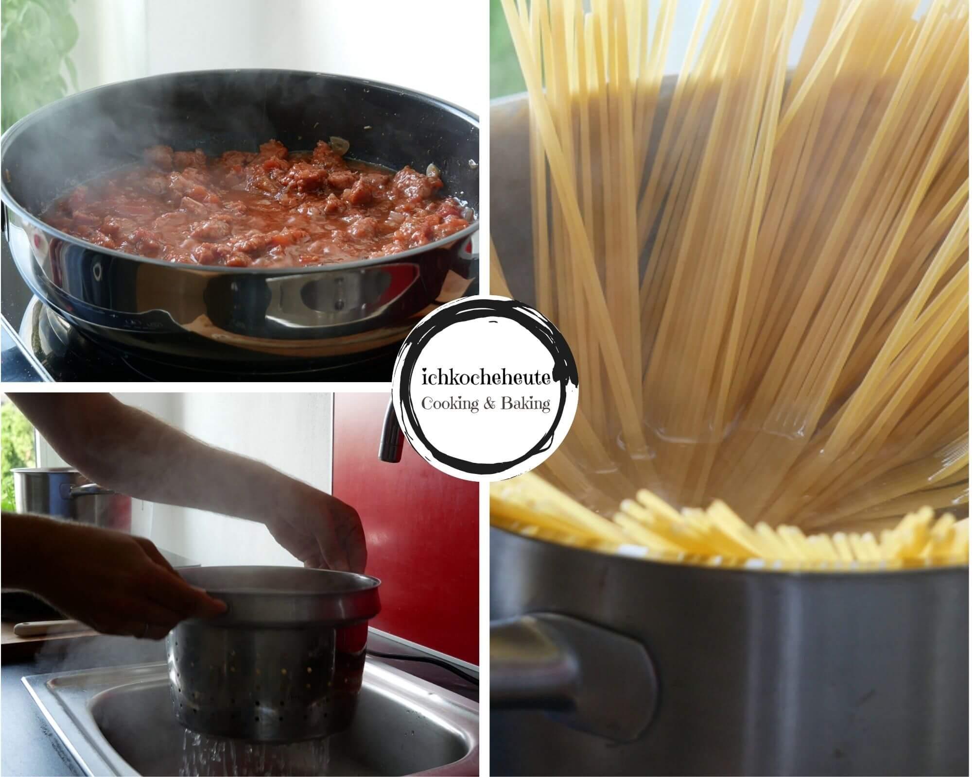 Salsiccia Tomaten Sauce & Pasta Kochen