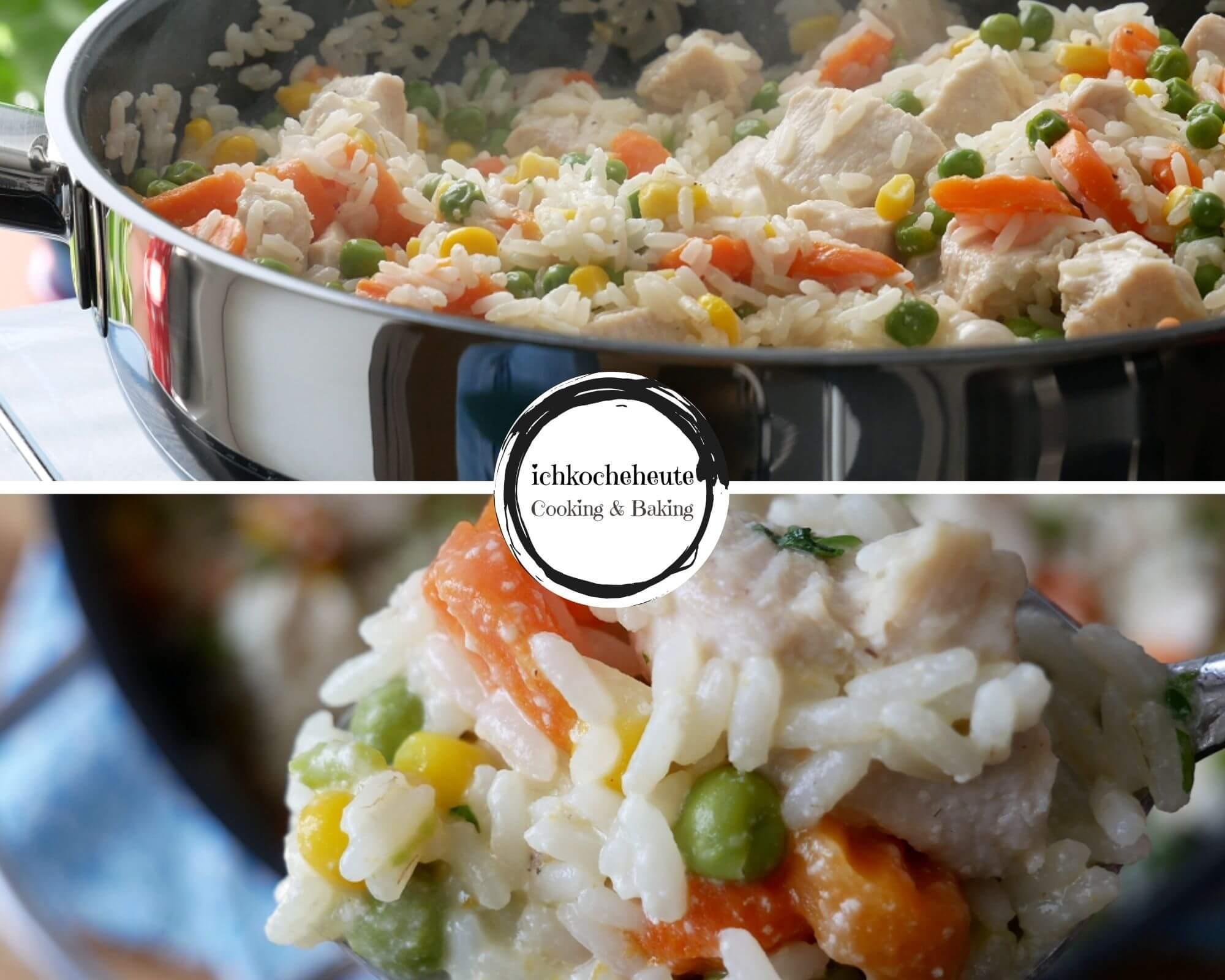 Serving One Pot Rice Stir Fry with Chicken & Veggies