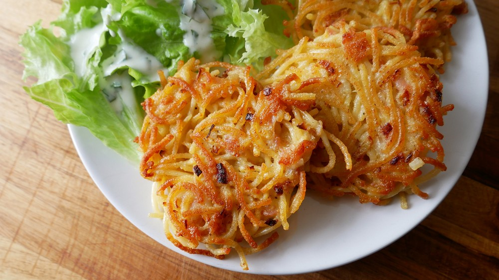 Spaghetti Fritters with Bacon
