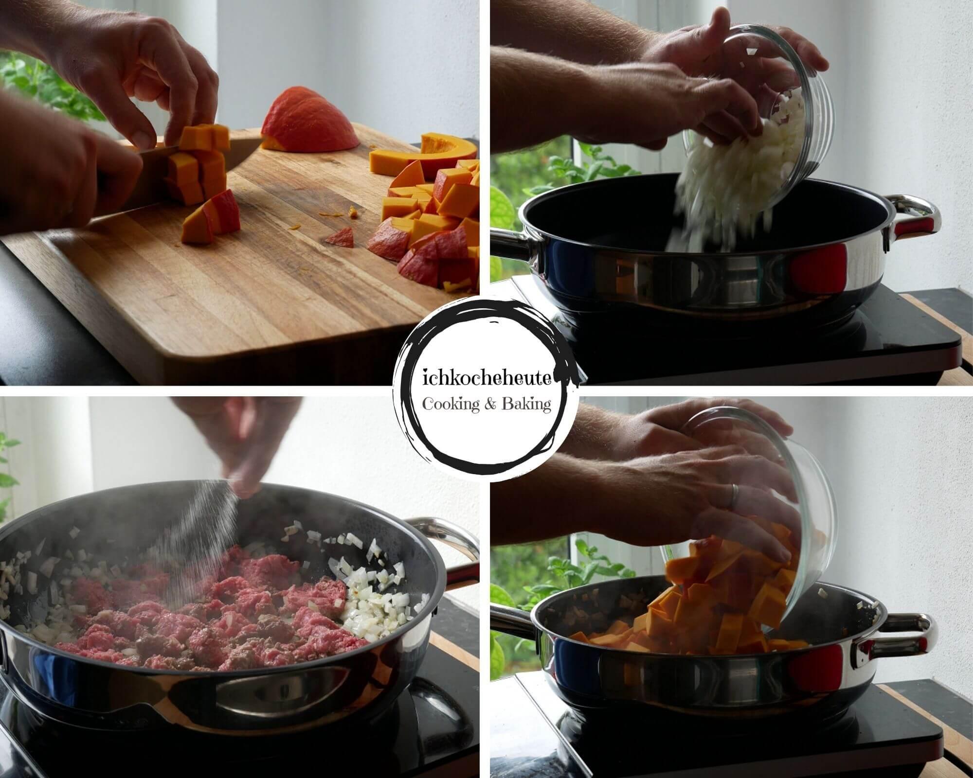 Preparations for Pumpkin Gnocchi Stir Fry with Ground Beef