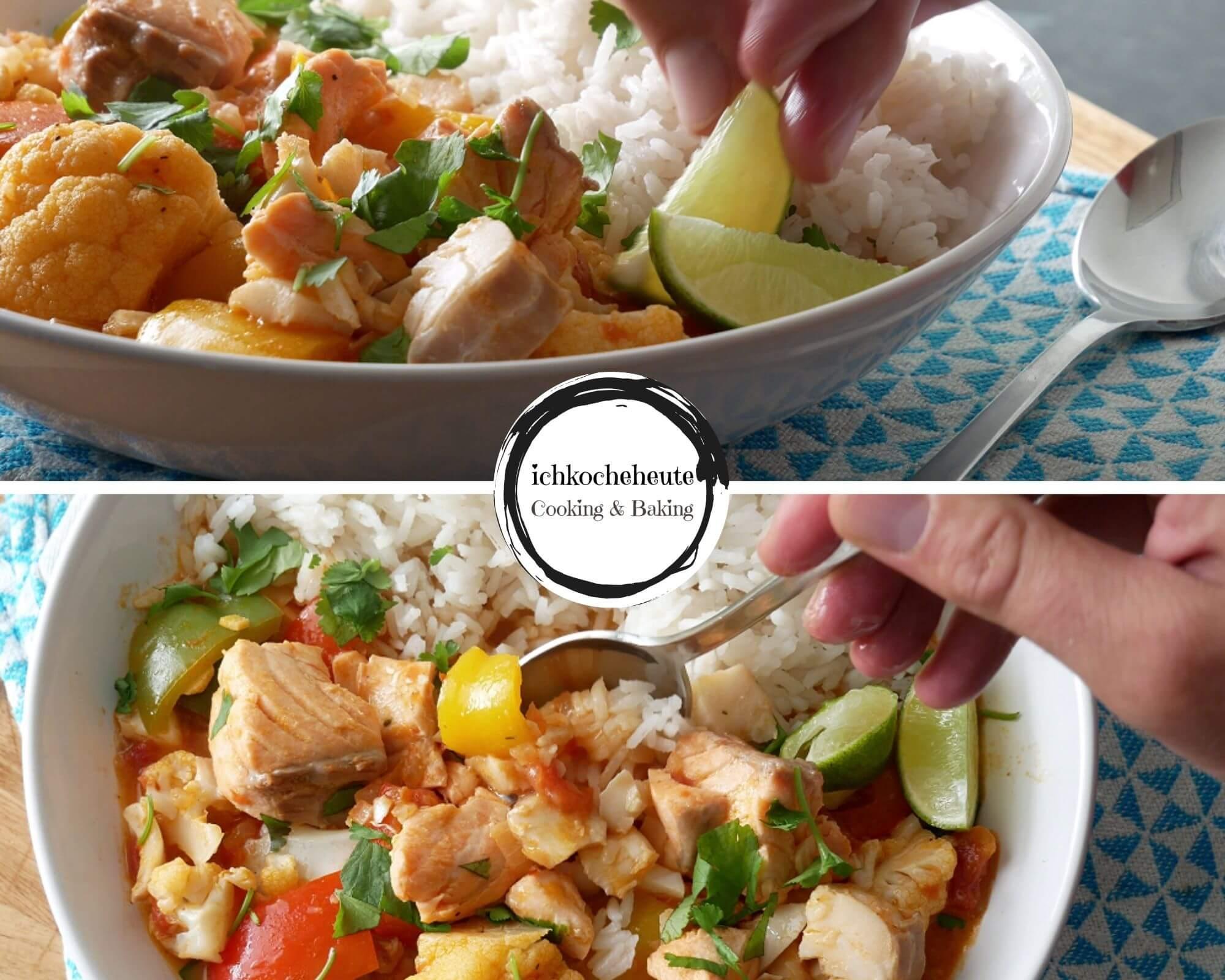Fisch Curry mit Blumenkohl & Paprika Servieren
